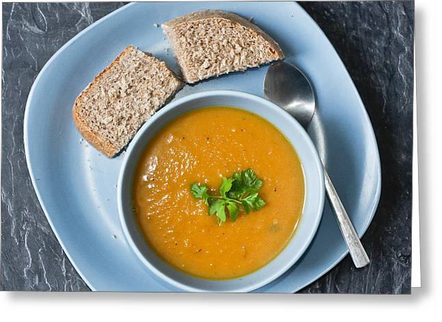 Blue Bowl Greeting Cards - Home made soup Greeting Card by Tom Gowanlock
