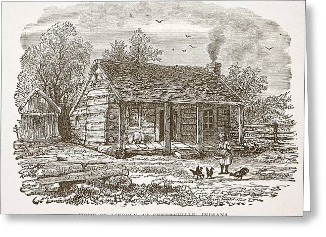 Log Cabins Greeting Cards - Home Of Lincoln At Gentryville Greeting Card by American School