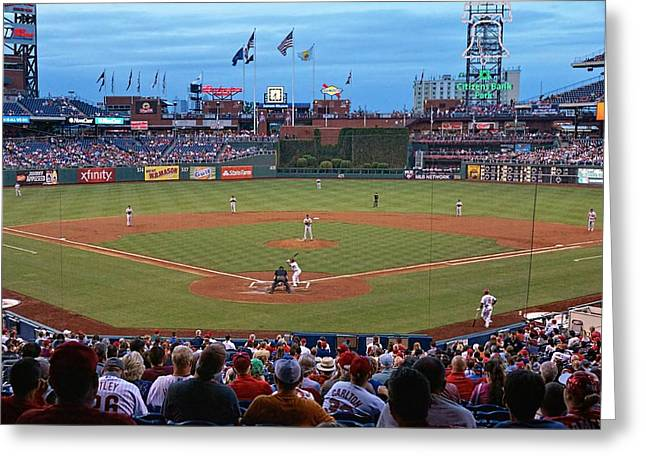 Citizens Bank Park Photographs Greeting Cards - Home Of The Phillies Greeting Card by Lanis Rossi