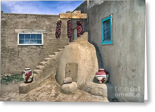 Pueblo Architecture Greeting Cards - Home On Taos Pueblo Greeting Card by Sandra Bronstein