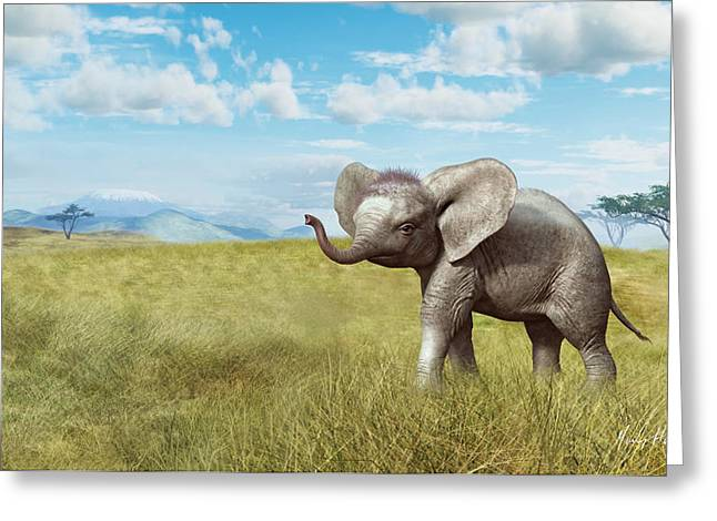 African Elephants Greeting Cards - Home on the Plains Greeting Card by Gary Hanna