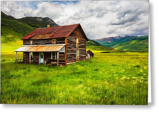 Mountain Cabin Greeting Cards - Home on the Range Greeting Card by Adam  Schallau