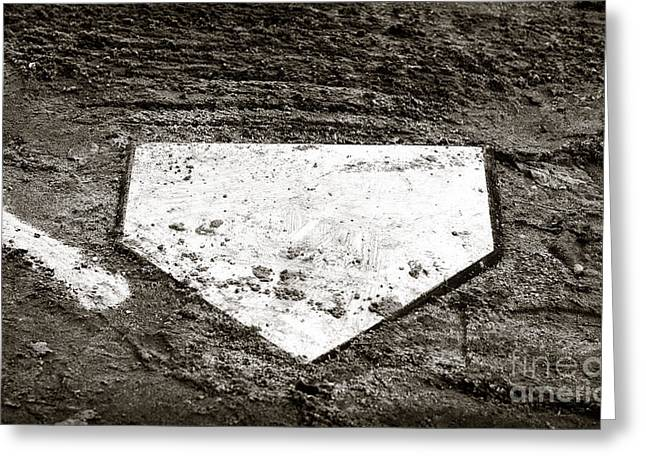 Baseball Art Greeting Cards - Home Plate Greeting Card by John Rizzuto