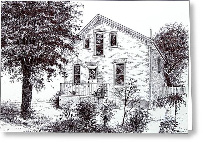 Pen And Ink Drawing Greeting Cards - Home Portrait Commission Greeting Card by Hanne Lore Koehler