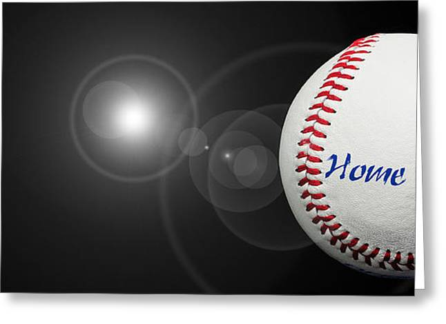 Baseball Fine Art Greeting Cards - Home Run - Baseball - Sport - Night Game - Panorama Greeting Card by Andee Design