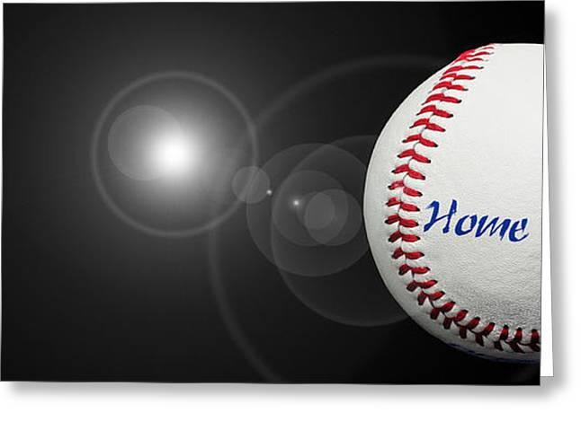 Home Run - Baseball - Sport - Night Game - Panorama Greeting Card by Andee Design