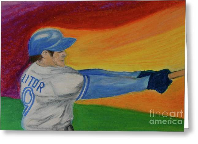 Action Sports Pastels Greeting Cards - Home Run Swing Baseball Batter Greeting Card by First Star Art