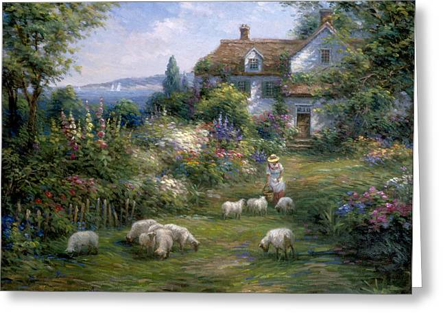 Pallet Knife Greeting Cards - Home Sheep Home Greeting Card by Ghambaro