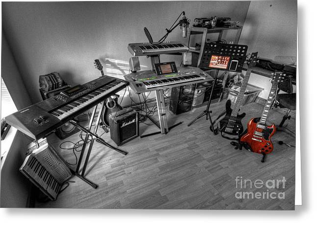 Musicans Greeting Cards - Home Studio  Greeting Card by Rob Hawkins