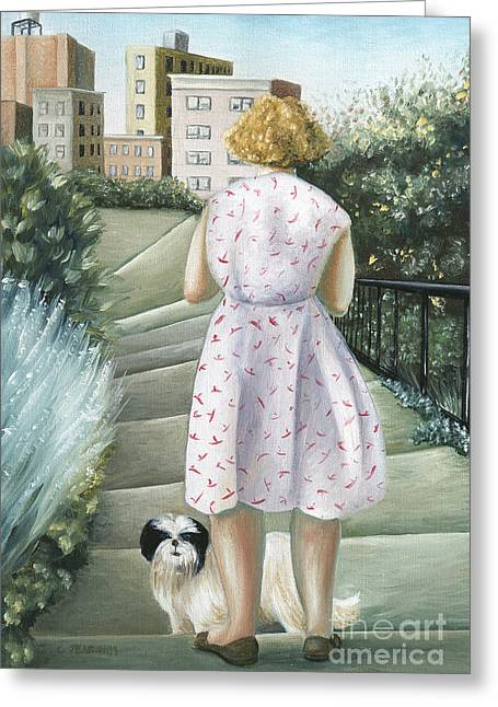 Dog Walking Greeting Cards - Home Study Greeting Card by Caroline Jennings