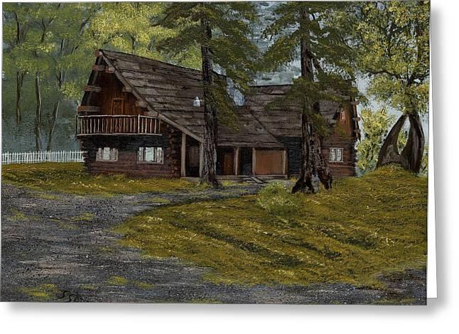 Log Cabins Greeting Cards - Home Greeting Card by Susan Sadoury