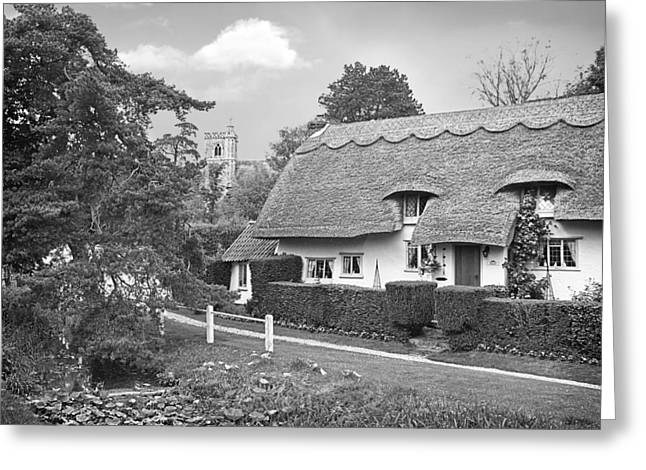 Thatch Greeting Cards - Home Sweet Home Black and White Greeting Card by Gill Billington