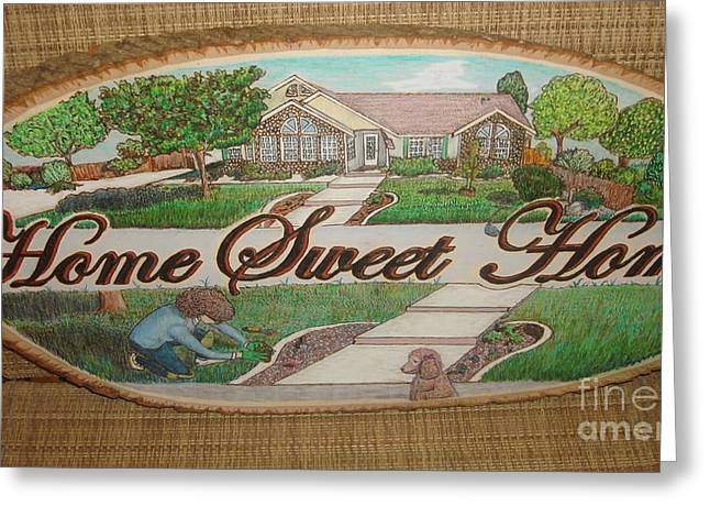 Chic Pyrography Greeting Cards - Home Sweet Home Greeting Card by Dakota Sage