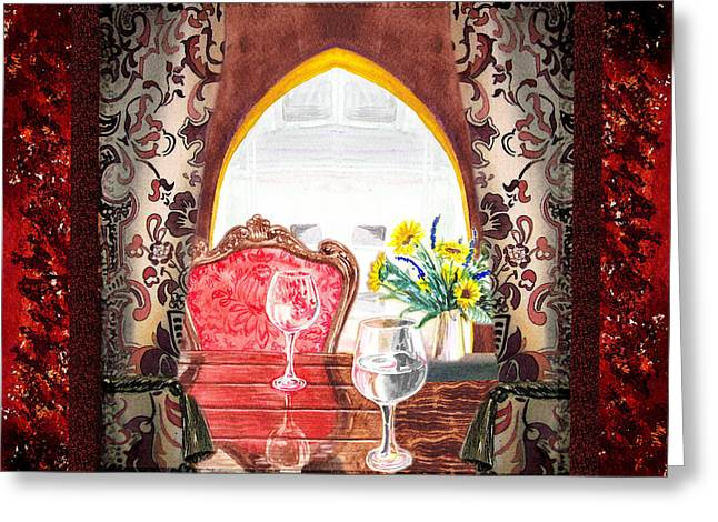 Bright. Table Greeting Cards - Home Sweet Home Decorative Design Welcoming Two Greeting Card by Irina Sztukowski