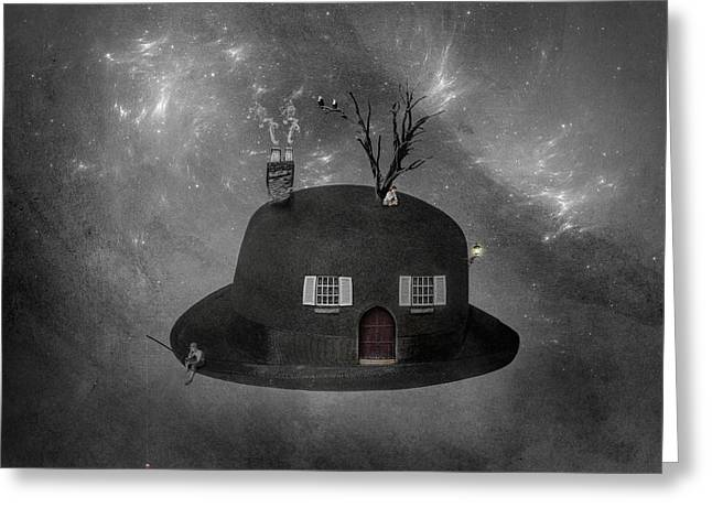 Trees Light Windows Greeting Cards - Home Sweet Home Greeting Card by Erik Brede