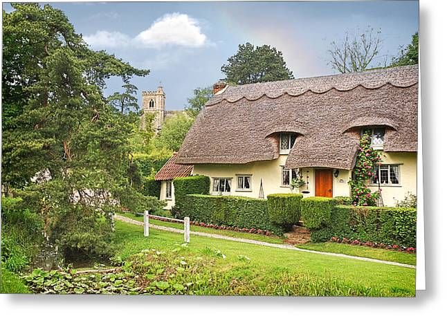 Thatch Greeting Cards - Home Sweet Home Greeting Card by Gill Billington