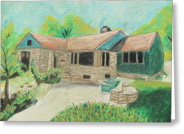 Residential Structure Pastels Greeting Cards - Home Sweet Home Greeting Card by Jeanne Fischer