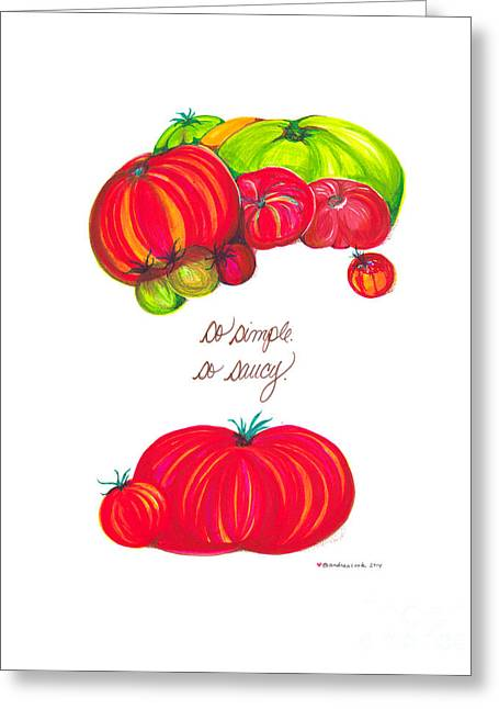 Tomato Drawings Greeting Cards - Home Sweet Home Jessica Simple and Saucy Greeting Card by Andrea Cook