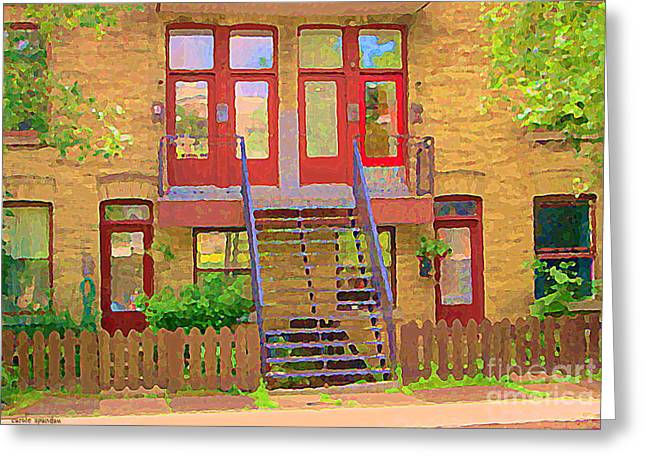 Montreal Streetscenes Paintings Greeting Cards - Home Sweet Home Red Wooden Doors The Walk Up Where We Grew Up Montreal Memories Carole Spandau Greeting Card by Carole Spandau