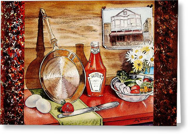 Interior Still Life Paintings Greeting Cards - Home Sweet Home Welcoming Five Greeting Card by Irina Sztukowski