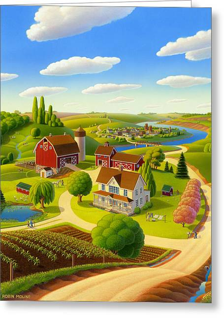 Grant Wood Greeting Cards - Home to Harmony Greeting Card by Robin Moline