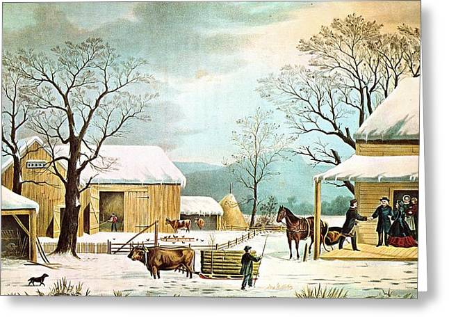Grey Clouds Digital Art Greeting Cards - Home To Thanksgiving Greeting Card by Currier and Ives