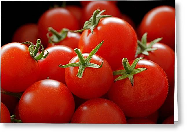 Fruits Photographs Greeting Cards - Homegrown Tomatoes Greeting Card by Rona Black
