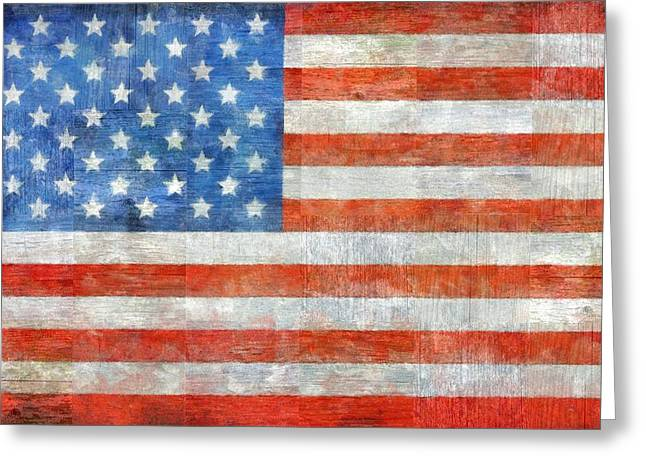 Red White And Blue Digital Greeting Cards - Homeland Greeting Card by Michelle Calkins