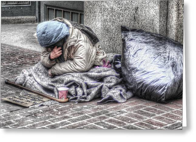 Boston Ma Greeting Cards - Homeless Again Greeting Card by Mary Beth D