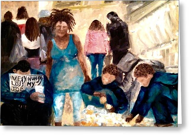 Man Dressed In Black Paintings Greeting Cards - Homeless family Greeting Card by Yolanda Terrell