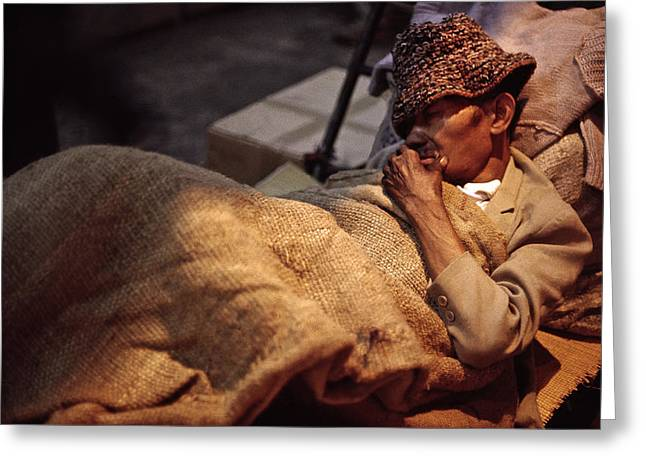 Kowloon Greeting Cards - Homeless in Hong Kong Greeting Card by Joe  Connors