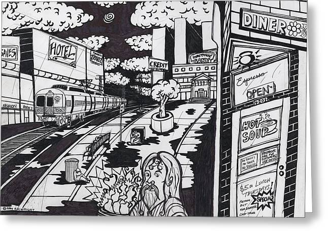 Puddle Drawings Greeting Cards - Homeless in the City Greeting Card by Patrick Wright