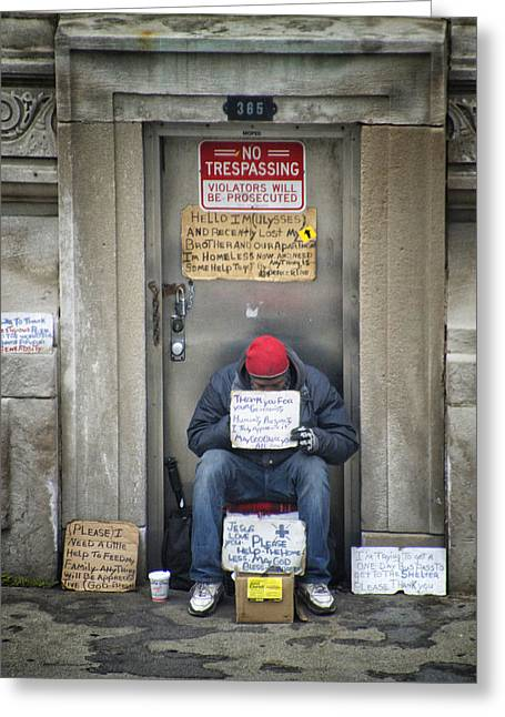 Cardboard Digital Greeting Cards - Homeless In The USA Greeting Card by Thomas Woolworth