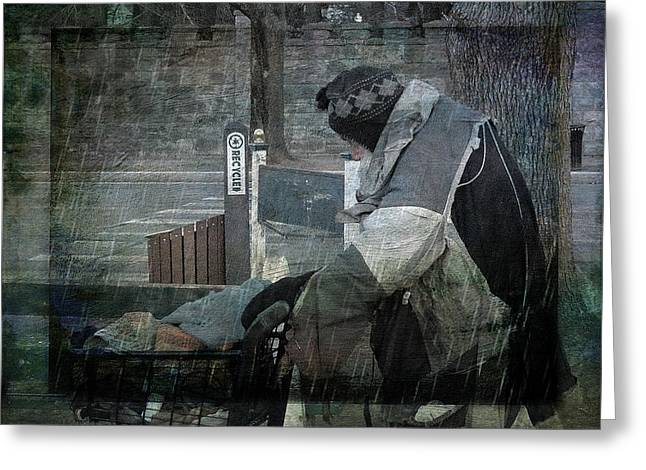 Plight Greeting Cards - Homeless Man Greeting Card by Geoffrey Coelho