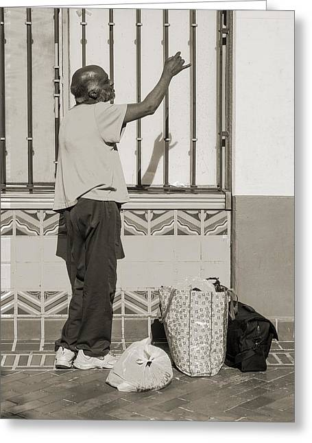 Drifter Photographs Greeting Cards - Homeless man reaching up with his hand Greeting Card by Kim M Smith