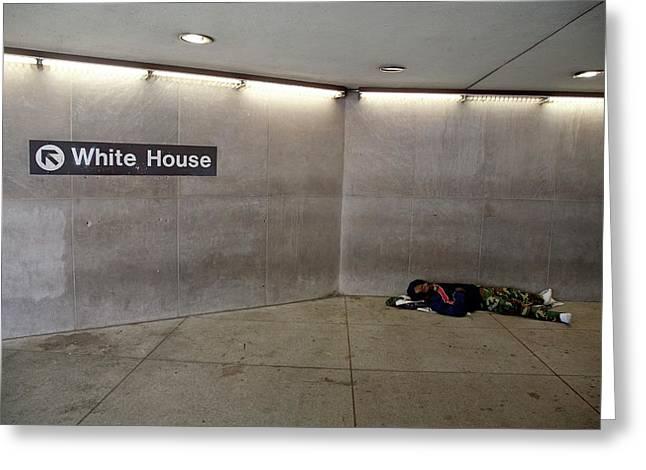 Homeless Man Sleeping Rough Greeting Card by Jim West