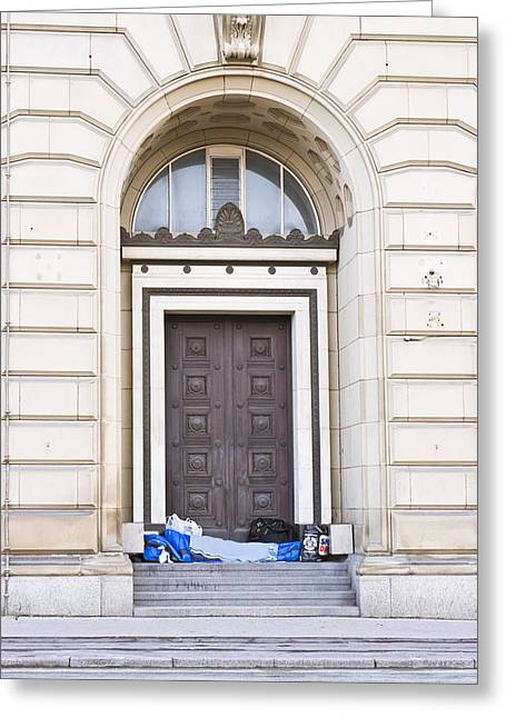 Bankrupt Greeting Cards - Homeless person Greeting Card by Tom Gowanlock