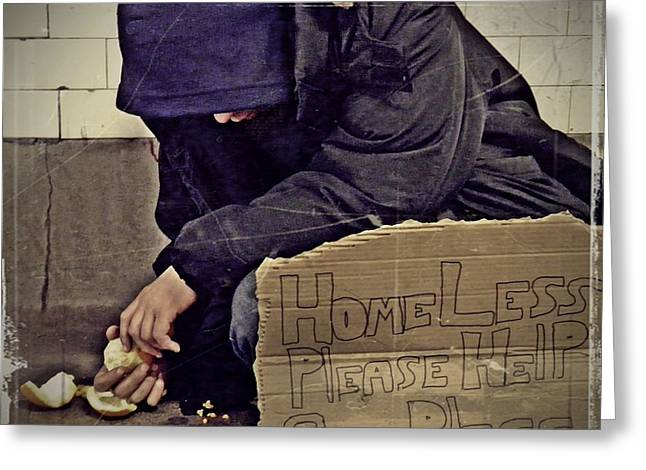Sarah Loft Photographs Greeting Cards - Homeless Please Help Greeting Card by Sarah Loft