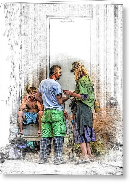 Carolina Greeting Cards - Homeless with a Cell Phone Greeting Card by John Haldane