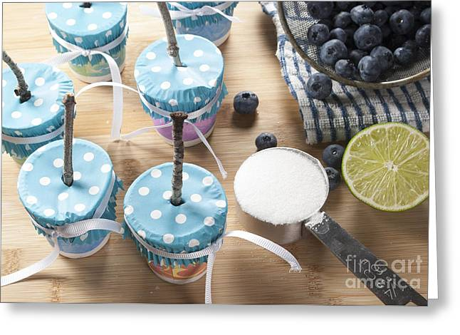 Dot Greeting Cards - Homemade Blueberry Popsicles Greeting Card by Juli Scalzi