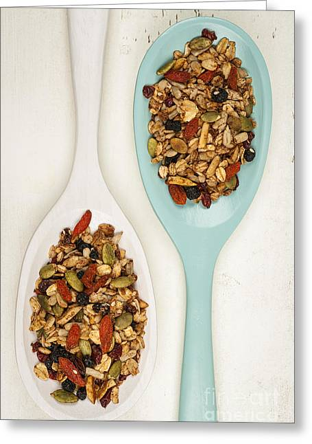 Toast Photographs Greeting Cards - Homemade granola in spoons Greeting Card by Elena Elisseeva