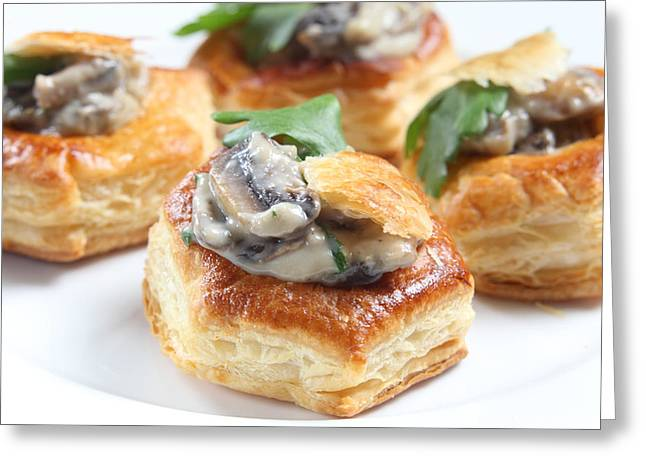 Vol Greeting Cards - Homemade mushroom vol-au-vents Greeting Card by Paul Cowan