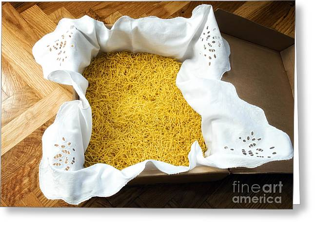 Spaghetti Noodles Greeting Cards - Homemade noddles Greeting Card by Sinisa Botas