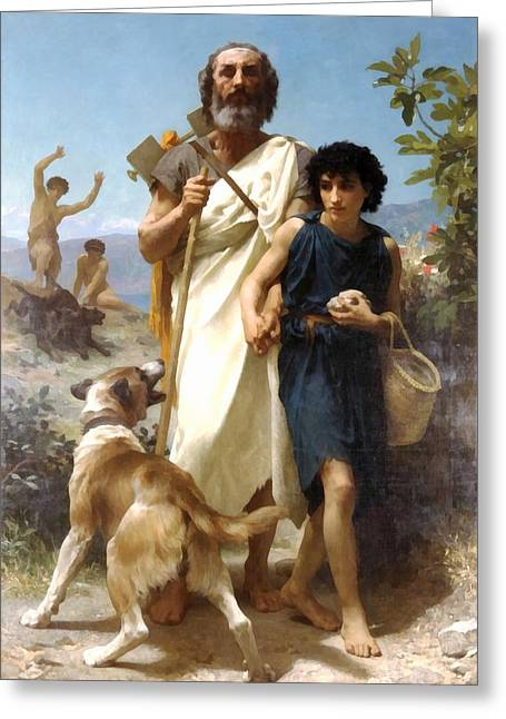 Dog Walking Digital Art Greeting Cards - Homer And His Guide Greeting Card by William Bouguereau