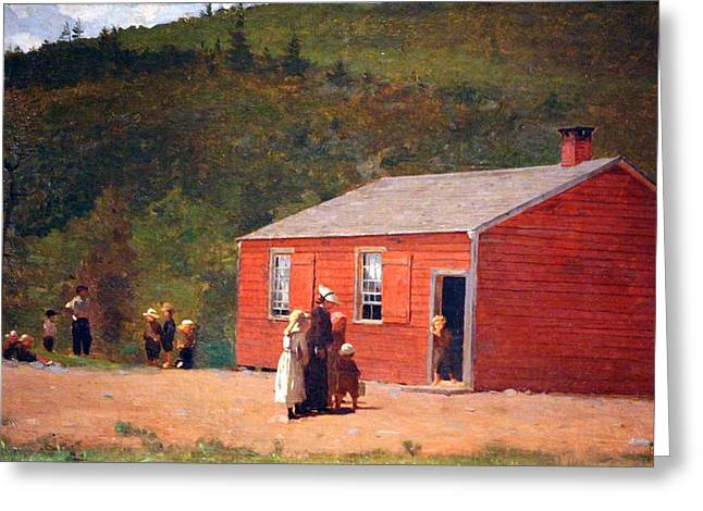 Red School House Greeting Cards - Homers School Time Greeting Card by Cora Wandel