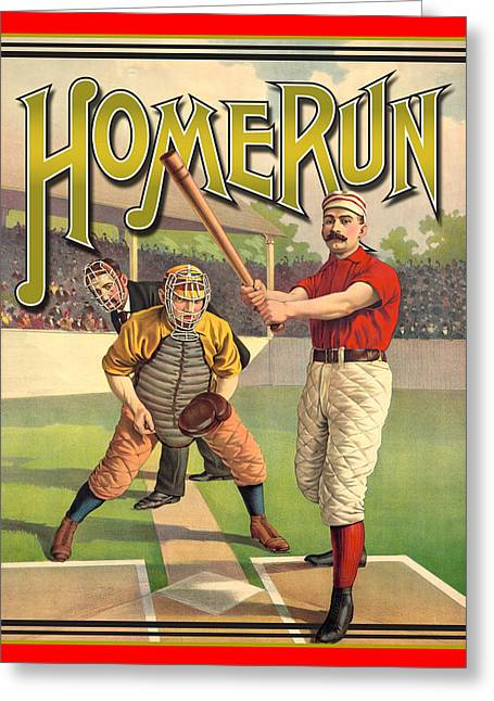Baseball Art Greeting Cards - Homerun Greeting Card by Gary Grayson