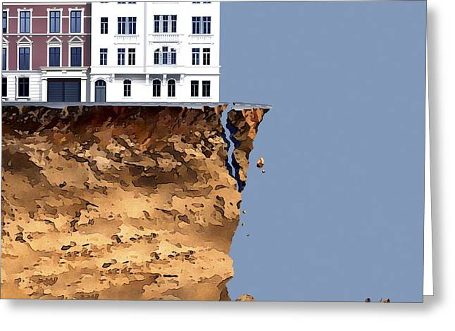 Financial Difficulties Greeting Cards - Homes at risk, conceptual artwork Greeting Card by Science Photo Library