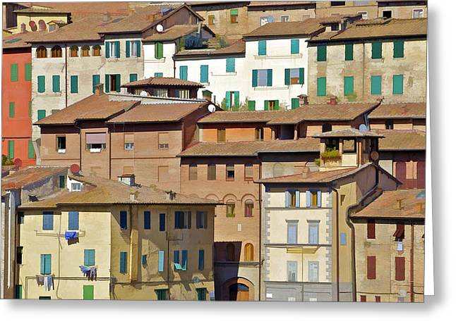 Cortona Greeting Cards - Homes in Cortona Greeting Card by David Letts