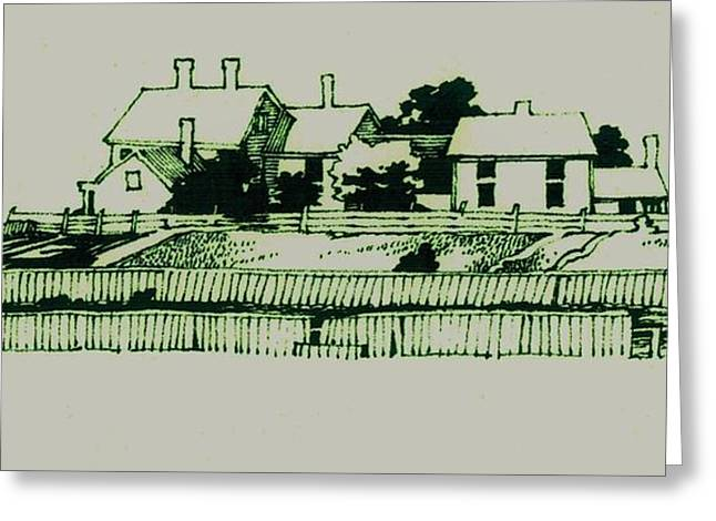 Old Home Place Drawings Greeting Cards - Homestead Greeting Card by Dale Michels