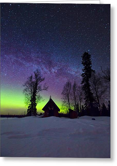 Milky Way Photographs Greeting Cards - Homestead Greeting Card by Ed Boudreau